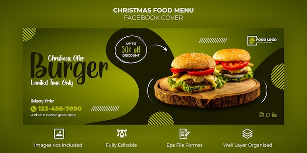 Frohe weihnachten food menu facebook cover banner