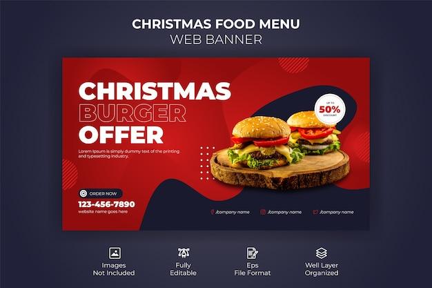 Frohe weihnachten food menu web banner vorlage