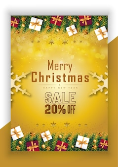Frohe weihnachten frohes neues jahr banner 20off mit goldenen sternen und geschenkbox premium-vektor