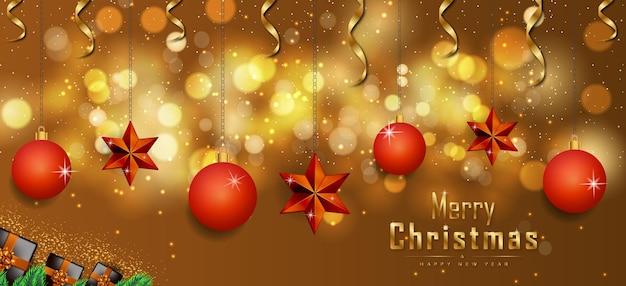 Frohe weihnachten frohes neues jahr banner goldene sterne und weihnachtsbaum premium-vektor