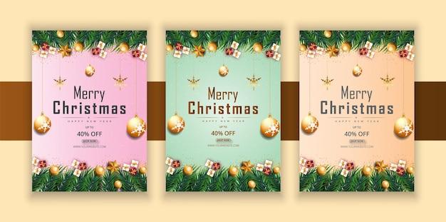 Frohe weihnachten frohes neues jahr flyer mit goldenen sternen und geschenkbox oder baum premium-vektor
