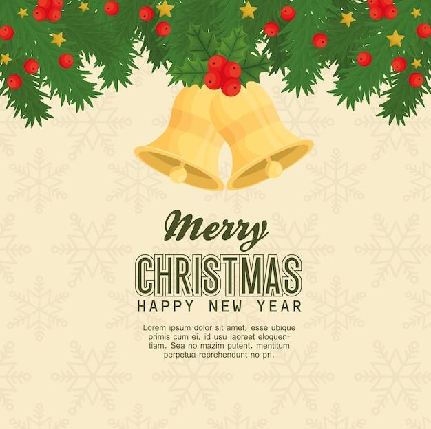 Frohe weihnachten frohes neues jahr glocken mit blättern design, wintersaison und dekoration