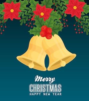 Frohe weihnachten frohes neues jahr glocken mit blumen design, wintersaison und dekoration