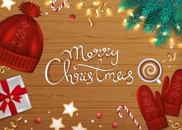Frohe weihnachten frohes neues jahr gruß hintergrund schriftzug winter tanne zweige geschenkbänder
