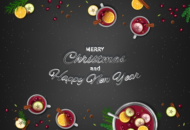 Frohe weihnachten frohes neues jahr gruß hintergrund wintergetränk punsch in einer schüssel und tassen