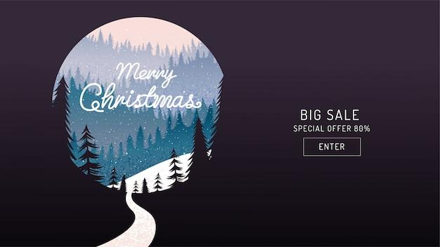 Frohe weihnachten, frohes neues jahr, kalligraphie, landschaftswinter