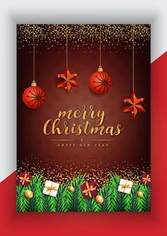 Frohe weihnachten frohes neues jahr poster mit goldenen sternen und weihnachtselementen premium-vektor