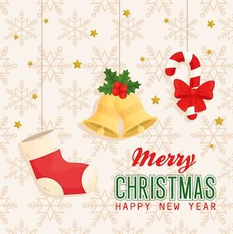 Frohe weihnachten frohes neues jahr stiefelglocken und süßigkeiten hängen design, wintersaison und dekoration