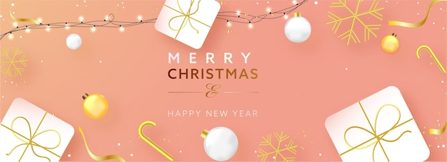 Frohe weihnachten & frohes neues jahr text mit realistischen kugeln