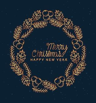 Frohe weihnachten frohes neues jahr verlässt mit beerenkreisentwurf, wintersaison und dekoration