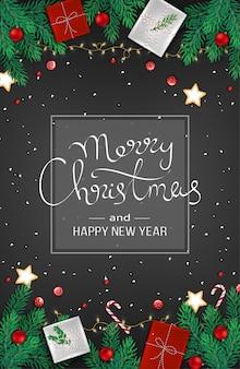 Frohe weihnachten frohes neues jahr web banner dekoration mit tannenzweigen, geschenken, girlande, kugeln, geschenk