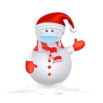 Frohe weihnachten für neues normales lebensstilkonzept weihnachtsmann-schneemann und rentier mit chirurgischer maske schützen das soziale distanzierungskonzept des coronavirus aufgrund von covid
