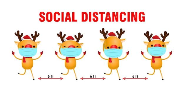 Frohe weihnachten für neues normales lifestyle-konzept und sozial distanziertes rentier mit op-maske