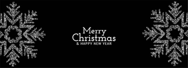 Frohe weihnachten funkeln glitzern schneeflocken banner