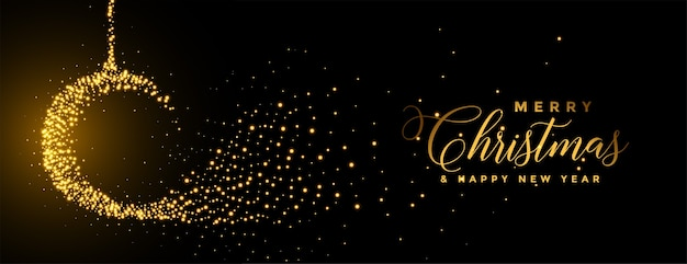 Frohe weihnachten funkelt ball goldenes festival banner