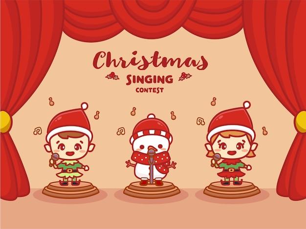 Frohe weihnachten gesangswettbewerb banner. kinder singen musikwettbewerb