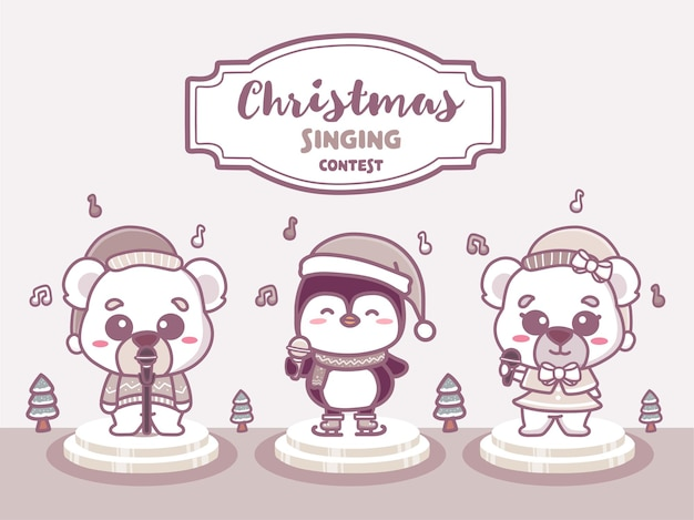 Frohe weihnachten gesangswettbewerb banner. lustiger tiergesang musikwettbewerb