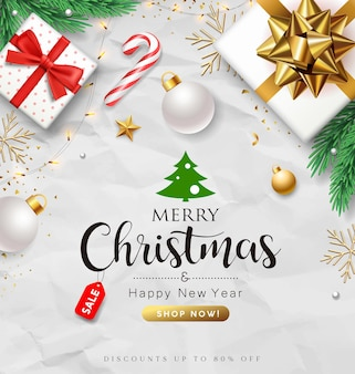 Frohe weihnachten-geschenkbox-kollektionen mit weihnachtsmann kiefernblättern und goldbändern flyer poster