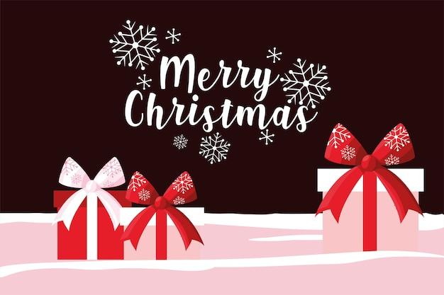 Frohe weihnachten geschenkboxen schneeflocken grußkarte illustration