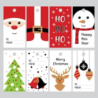 Frohe weihnachten geschenke tags für winterferien vektor