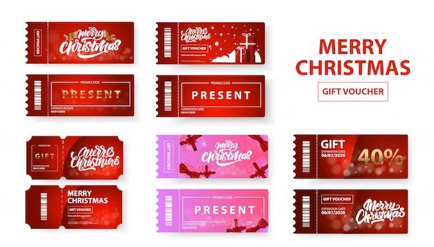 Frohe weihnachten geschenkgutschein set