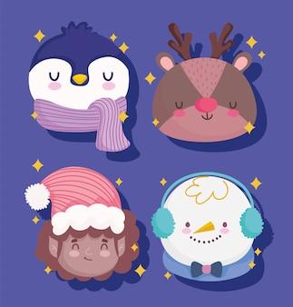 Frohe weihnachten gesichter dekoration und feier illustration