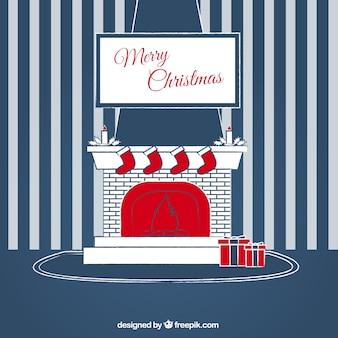 Frohe weihnachten gestreiften wand hintergrund mit kamin