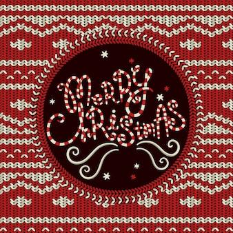 Frohe weihnachten gestrickter hintergrund in rot und weiß