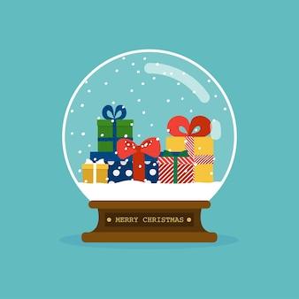 Frohe weihnachten glaskugel mit weihnachtsgeschenken.
