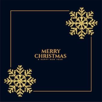 Frohe weihnachten glitter funkelnde schneeflocke rahmen hintergrund