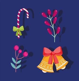 Frohe weihnachten, glocken zuckerstangenzweig stechpalme beerenikonen vektor-illustration