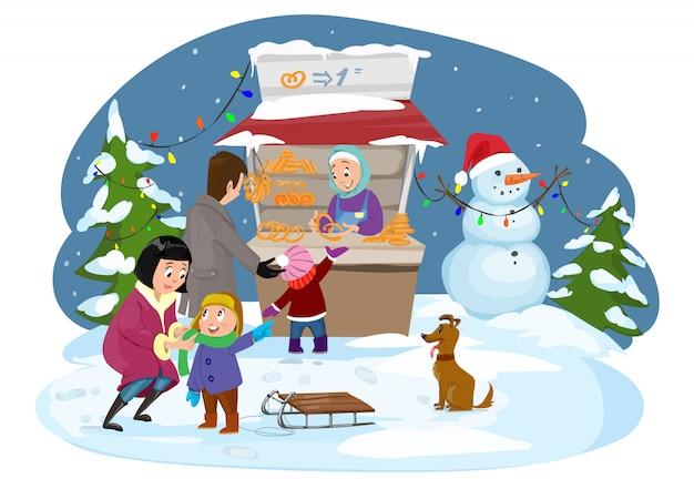 Frohe weihnachten, glückliche familie