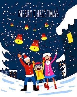 Frohe weihnachten glückliche familienkarte