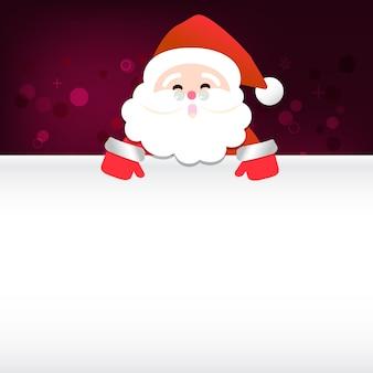 Frohe weihnachten glücklicher santa claus happy new year auf rotem und weißem schneehintergrund