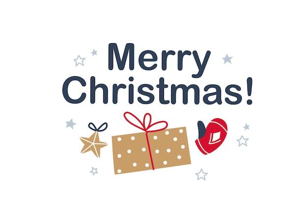 Frohe weihnachten-glückwunsch-design mit sternspielzeug, geschenkbox und winterhandschuh isoliert. flache vektorgrafik. für karten, banner, drucke, verpackungen, einladungen, anhänger.