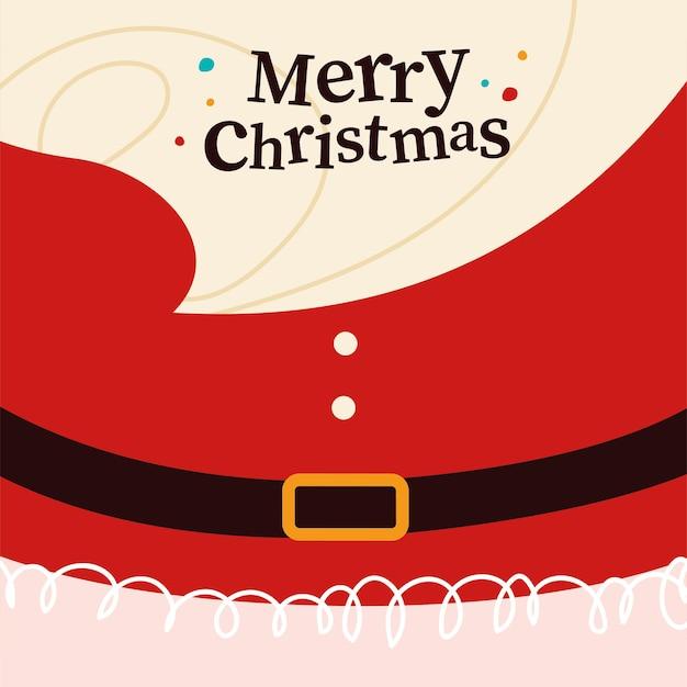 Frohe weihnachten glückwunschkarte mit santa claus bart, gürtel und rotem kostüm im hintergrund. vektor-flache cartoon-illustration. für weihnachtskarten, banner, aufkleber, anhänger, verpackungen etc.
