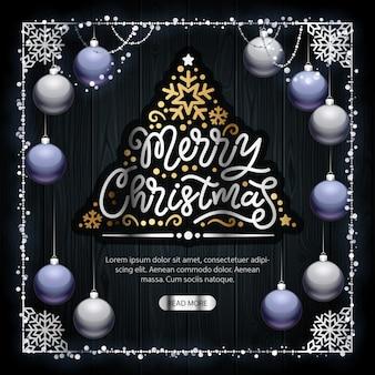 Frohe weihnachten goldene dekoration auf dunklem holz