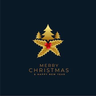 Frohe weihnachten goldenen baum und blätter dekoration