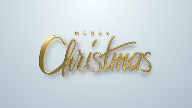 Frohe weihnachten goldenes 3d-schriftzug-zeichen