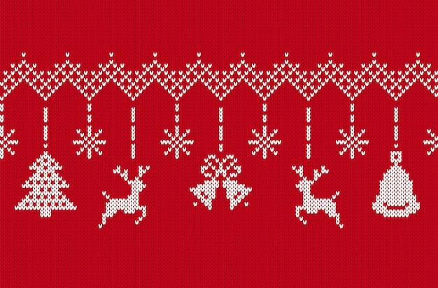 Frohe weihnachten-grenze. rotes nahtloses muster stricken. vektor-illustration.