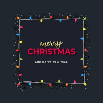 Frohe weihnachten grettings aus glühbirnen rahmen