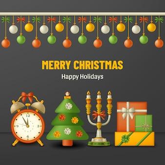 Frohe weihnachten grüße mit bällen geschenkboxen und wecker