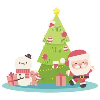 Frohe weihnachten gruß hintergrund mit santa und schneemann