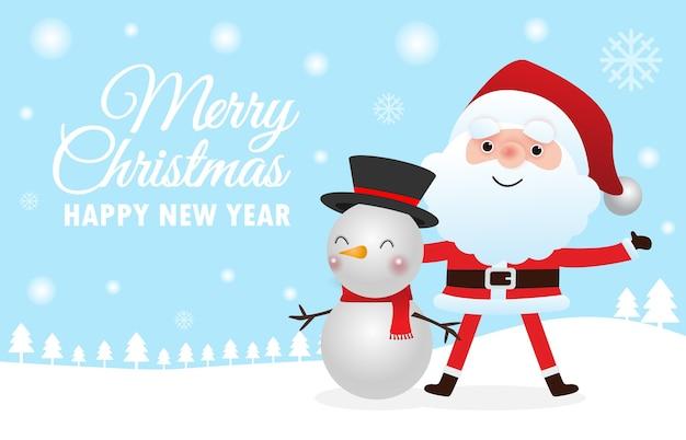 Frohe weihnachten gruß mit niedlichen weihnachtsmann und schneemann