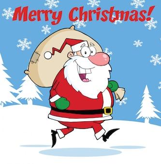 Frohe weihnachten gruß mit santa claus mit tasche laufen
