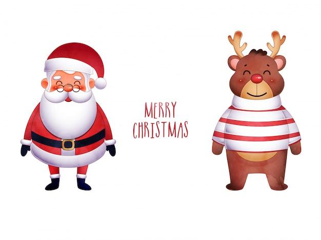 Frohe weihnachten gruß mit santa und rentier
