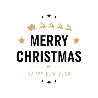 Frohe weihnachten gruß text gold santa schlitten weißen hintergrund