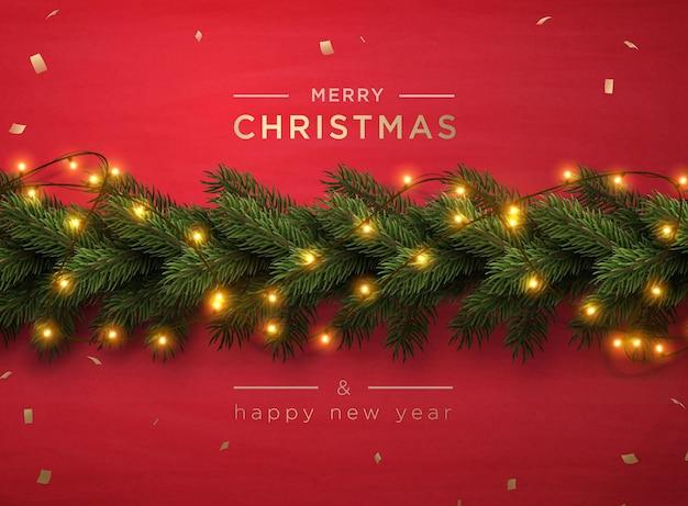 Frohe weihnachten-grußbanner mit weihnachtsdekor-tannenzweigen und konfetti, vektorillustration.