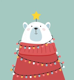 Frohe weihnachten grußkarte, banner. weißer eisbär, der wie ein weihnachtsbaum, vektorkarikaturillustration schaut