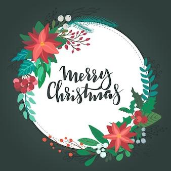Frohe weihnachten grußkarte blumenkranz mit winterblumenzweigen beeren